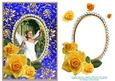 Decoupage Yellow Roses Angel Girl in White Dress Blue Card