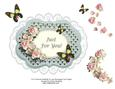 Just for You Roses Butterfly & Lace Decoupage Card Topper
