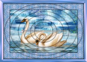 Romantic Swans Scene A4 Inverted Tunnel Card Kit