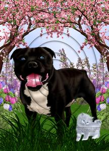 Beautiful Staffie Black Brown A4 Inverted Tunnel Card Kit