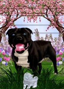 Beautiful Staffie Black Brown A4 Side Stacker Card Kit
