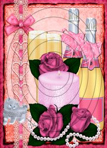 Champagne Pink Roses & Pearls A4 Inverted Tunnel Card Kit