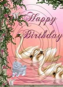 Beautiful Swans Birthday A4 Inverted Tunnel Card Kit