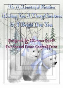 Really Cute Christmas Polar Bears to a Wonderful Brother A4