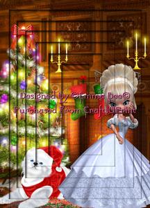 Snowbell & Cute Kitten Decorating Tree A4 Inverted Tunnel Ca