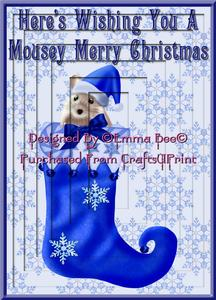 Mousey Christmas Blue A4 Inverted Tunnel Card Kit