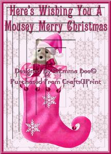 Mousey Christmas Pink A4 Inverted Tunnel Card Kit