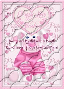 Cute Loved Up Puppy Pink A4 Deckle Corner Stacker Card Kit