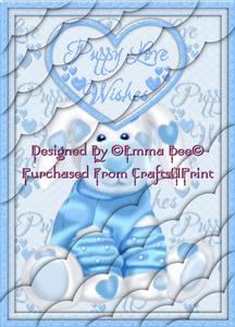 Cute Loved Up Puppy Blue A4 Deckle Corner Stacker Card Kit