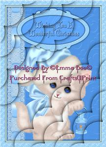 Cute Christmas Kitty Blue A4 Deckle Corner Stacker Card Kit