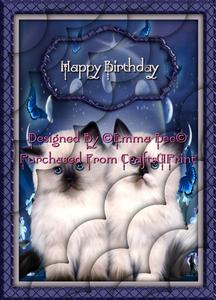 Cute Fluffy Moonlight Sweethearts Kittens Birthday A4 Deckle
