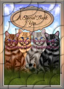 Beautiful Tabby Cats Special Thank You A4 Deckle-corner-stac