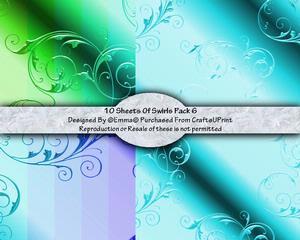 Swirls Card/paper Pack 6