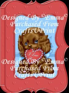 Valentine Birthday Notelet Card Gift I Love You Puppy 2
