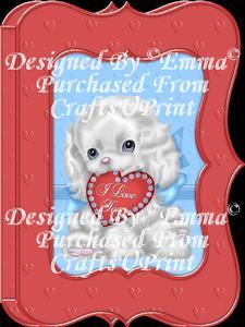 Valentine Birthday Notelet Card Gift I Love You Puppy 3