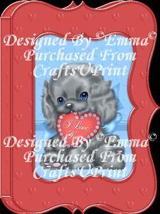 Valentine Birthday Notelet Card Gift I Love You Puppy 4