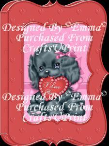 Valentine Birthday Notelet Card Gift I Love You Puppy 5