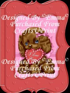 Valentine Birthday Notelet Card Gift I Love You Puppy 6