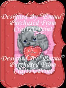 Valentine Birthday Notelet Card Gift I Love You Puppy 8