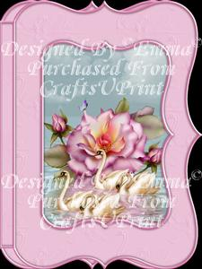Beautiful Swans & Rose Notelet Card Gift Set