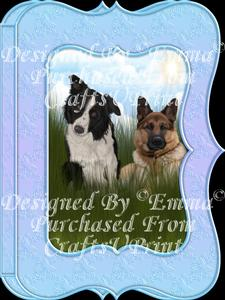 Cute Border Collie & German Shepherd Notelet Card Gift-set 1