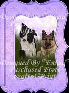Cute Border Collie & German Shepherd Notelet Card Gift-set 2
