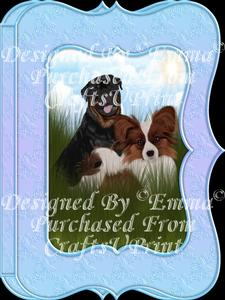 Cute Papillion & Rottweiler Notelet Card Gift Set 1of3