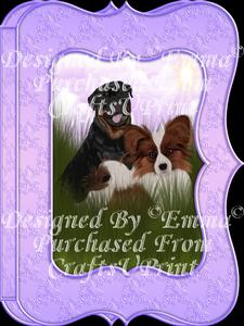 Cute Papillion & Rottweiler Notelet Card Gift Set 2of3