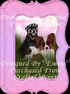 Cute Papillion & Rottweiler Notelet Card Gift Set 3of3