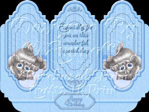 Oh So Cute Kitten Tri Fold Card Kit Blue 1 of 8