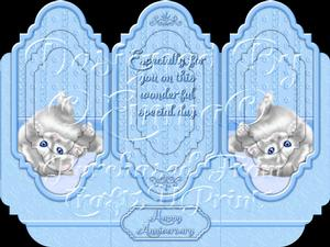 Oh So Cute Kitten Tri Fold Card Kit Blue 2 of 8