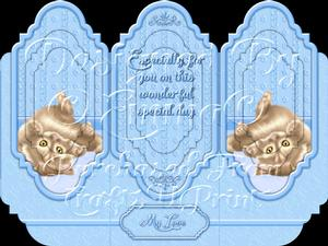Oh So Cute Kitten Tri Fold Card Kit Blue 3 of 8