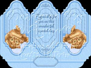 Oh So Cute Kitten Tri Fold Card Kit Blue 4 of 8