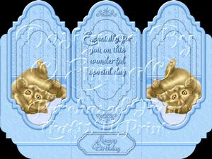 Oh So Cute Kitten Tri Fold Card Kit Blue 5 of 8