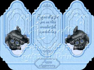 Oh So Cute Kitten Tri Fold Card Kit Blue 6 of 8