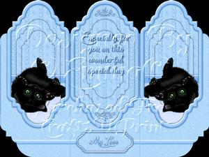 Oh So Cute Kitten Tri Fold Card Kit Blue 7 of 8