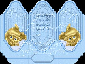 Oh So Cute Kitten Tri Fold Card Kit Blue 8 of 8