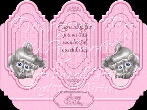 Oh So Cute Kitten Tri Fold Card Kit Pink 1 of 8