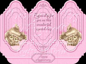 Oh So Cute Kitten Tri Fold Card Kit Pink 3 of 8