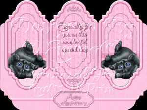 Oh So Cute Kitten Tri Fold Card Kit Pink 6 of 8