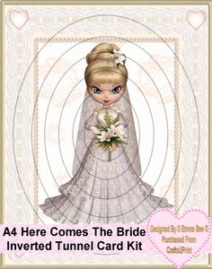 A4 Here Comes the Bride Inverted Tunnel Card Kit
