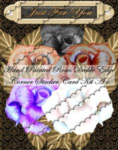 Hand Painted Roses Deckle Edge Corner Stacker Card Kit