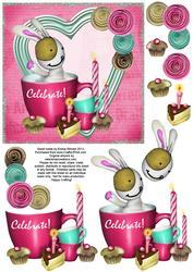 Cute Bunny & Cake 6x6 Decoupage - Celebrate! - Pink & Aqua