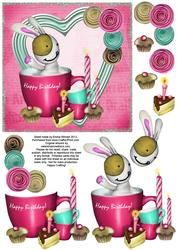 Cute Bunny & Cake 6x6 Decoupage - Birthday - Pink & Aqua