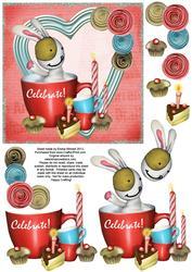 Cute Bunny & Cake 6x6 Decoupage - Celebrate! - Red & Blue