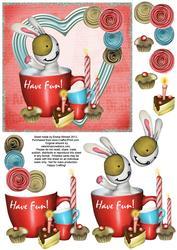Cute Bunny & Cake 6x6 Decoupage - Have Fun! - Red & Blue