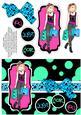 Shopping-mad Punk Teen Decoupage - Aqua, Sky Blue & Pink