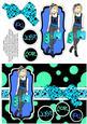 Shopping-mad Punk Teen Decoupage - Aqua, Sky & Dark Blue