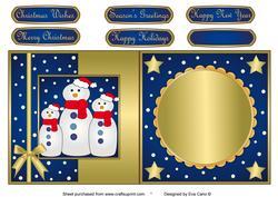 Snowman Family Fold Back Blue