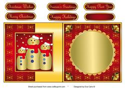 Gold Snowman Family Fold Back Red
